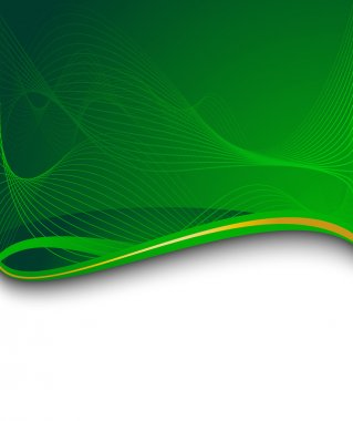 Green banner with green wave
