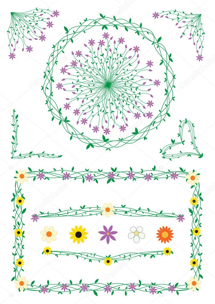 Stalk and flowers decorations