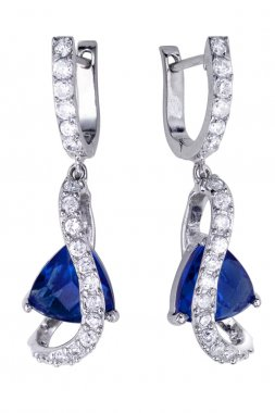 Earrings with zircon and big gemstones