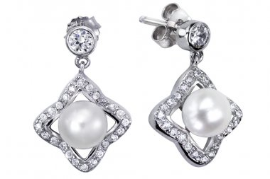 Earrings with zircon and expensive big pearl