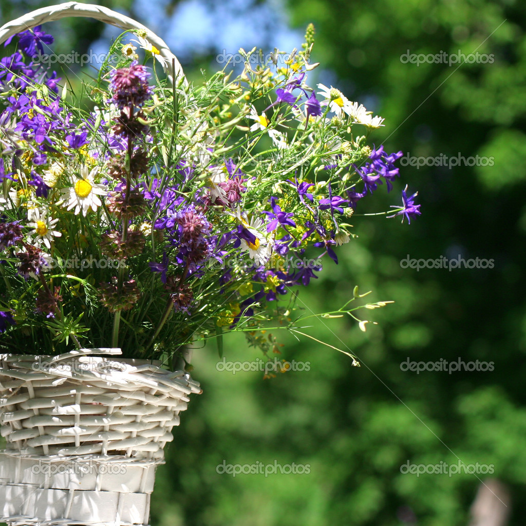 Bouquet of meadow flowers in a basket