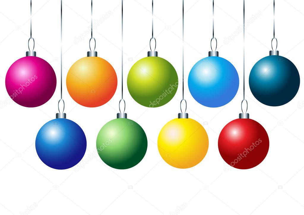 Bolas De Navidad Rojas Sobre Fondo Verde: Juego De Bolas De Navidad Colorida