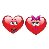 Red cartoon heart balloons