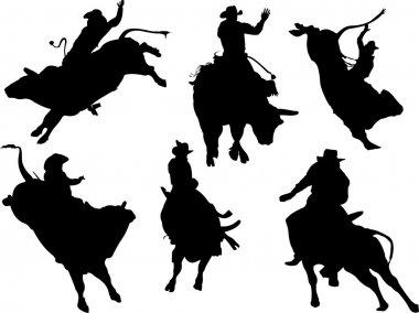Six rodeo silhouettes. Vector illustrati