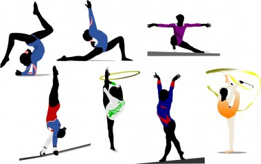 Woman gymnastic colored silhouettes. Vec