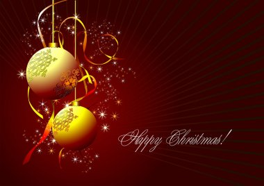 Christmas - New Year shine card with gol