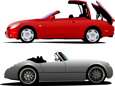Two cars cabriolet on the road. Vector