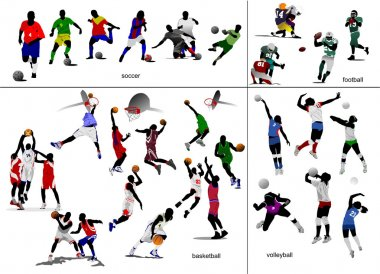 Games with ball. Soccer, football, baske