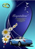 Wedding invitation with cabriolet image.