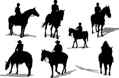 Horse riders silhouettes. Vector illustr