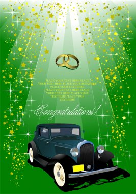 Wedding green background with rarity car