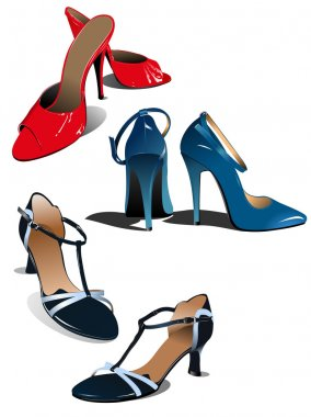 Three pairs of fashion woman shoes. Vect