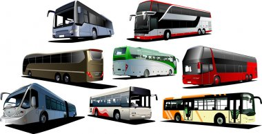 Eight kinds of buses. Vector illustrati