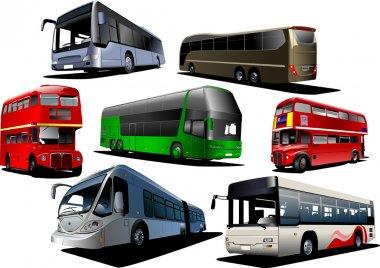 Seven types of bus. Vector illustration