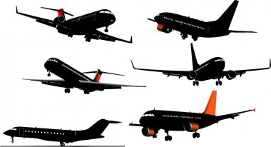 Six Airplane silhouettes . Vector illust
