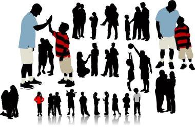 Children silhouettes. Vector illustrati