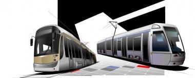 City transport. Two Trams. Vector illust