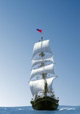 Marine background with sailing vessel. V