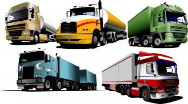 Five trucks on the road. Vector illustra