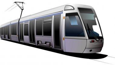 City transport. Tram. Vector illustratio