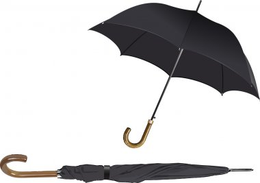 Opened and closed black umbrella. Vector