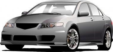 Gray (grey) car sedan on the road. Vect