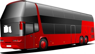 New London double Decker red bus. Vecto
