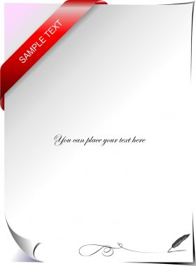 Blank letter with corner ribbon. Vector