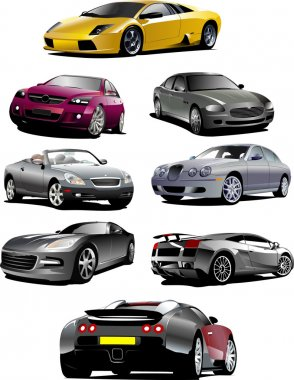 Eight cars on the road. Vector illustra