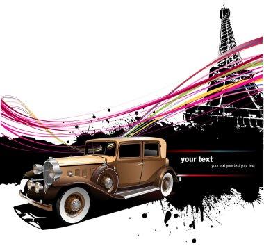 Old car with Paris image background. Vec