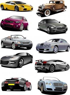Ten autos on the road