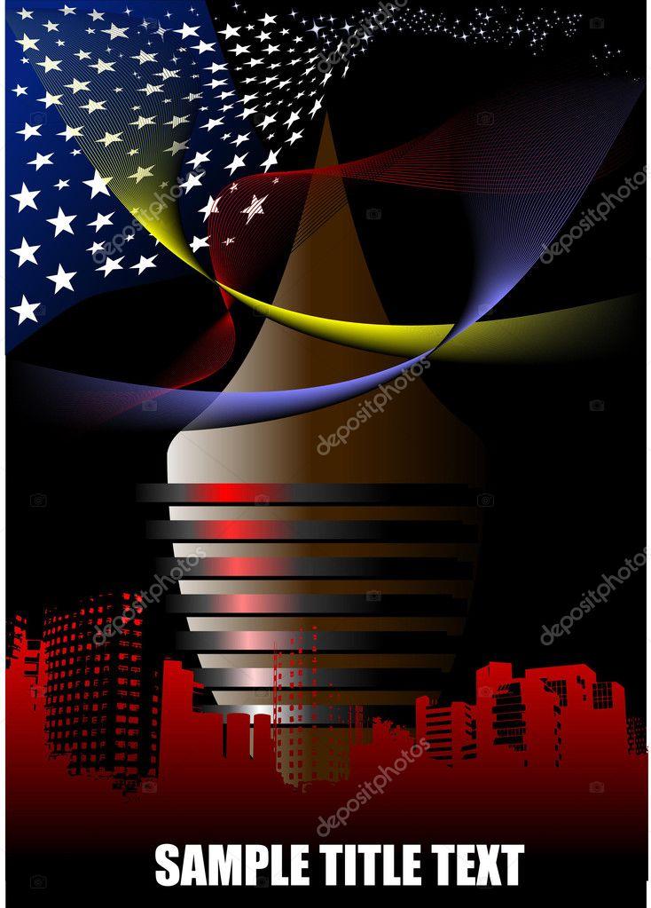 Astratto Città Futuristica Con Americano F Vettoriali Stock