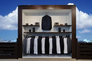 Show-window with suits