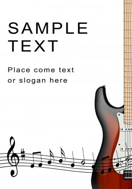 Electro- guitar and musical notes