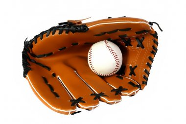 Brown baseball glove and white ball
