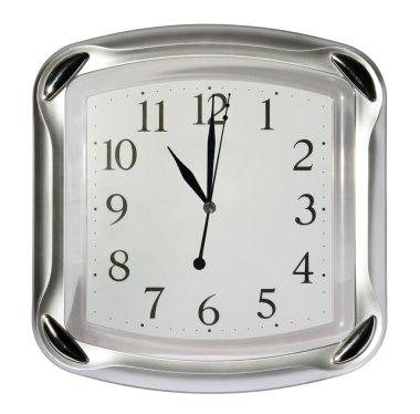 Gray wall clock (11:00). (isolated)
