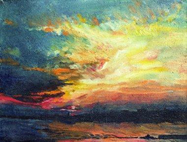 "Картина, постер, плакат, фотообои ""живопись, закат на днепре маслом натюрморт копия картина заказать"", артикул 1488909"