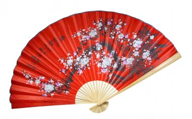 Chinese fan on the white background. (isolated)