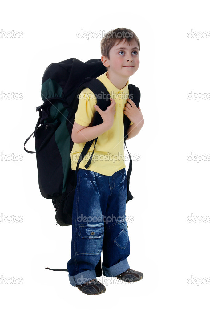 Boy with a large tourist backpack — Stock Photo © Aptyp koK  1491387 a37caa1094023