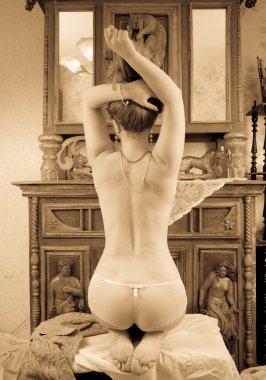 Blonde girl in vintage flat