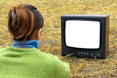 Girl watching TV in meadow. Element of design. stock vector