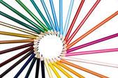 Assortment pencils circle wheel like sun