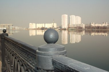 Moscow landscape with river and construc