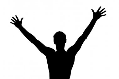 Silhouette of a young boy with his hands up clip art vector