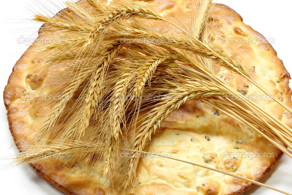 Grain tortilla and ears of wheat