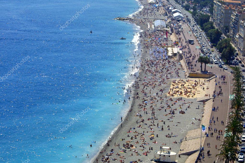 Pebble beach in Nice city