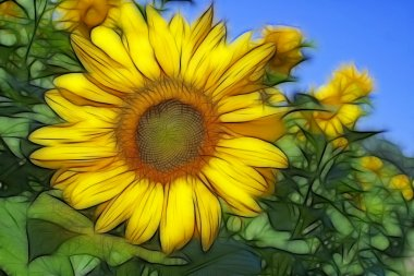 Fractal image with sunflowers