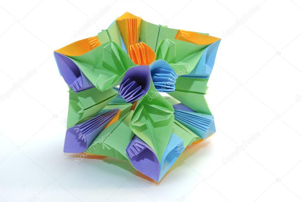 Origami colorful cube flower stock photo oksixx 1493249 colorfull origami unit colorful cube flower isolated on white background photo by oksixx mightylinksfo
