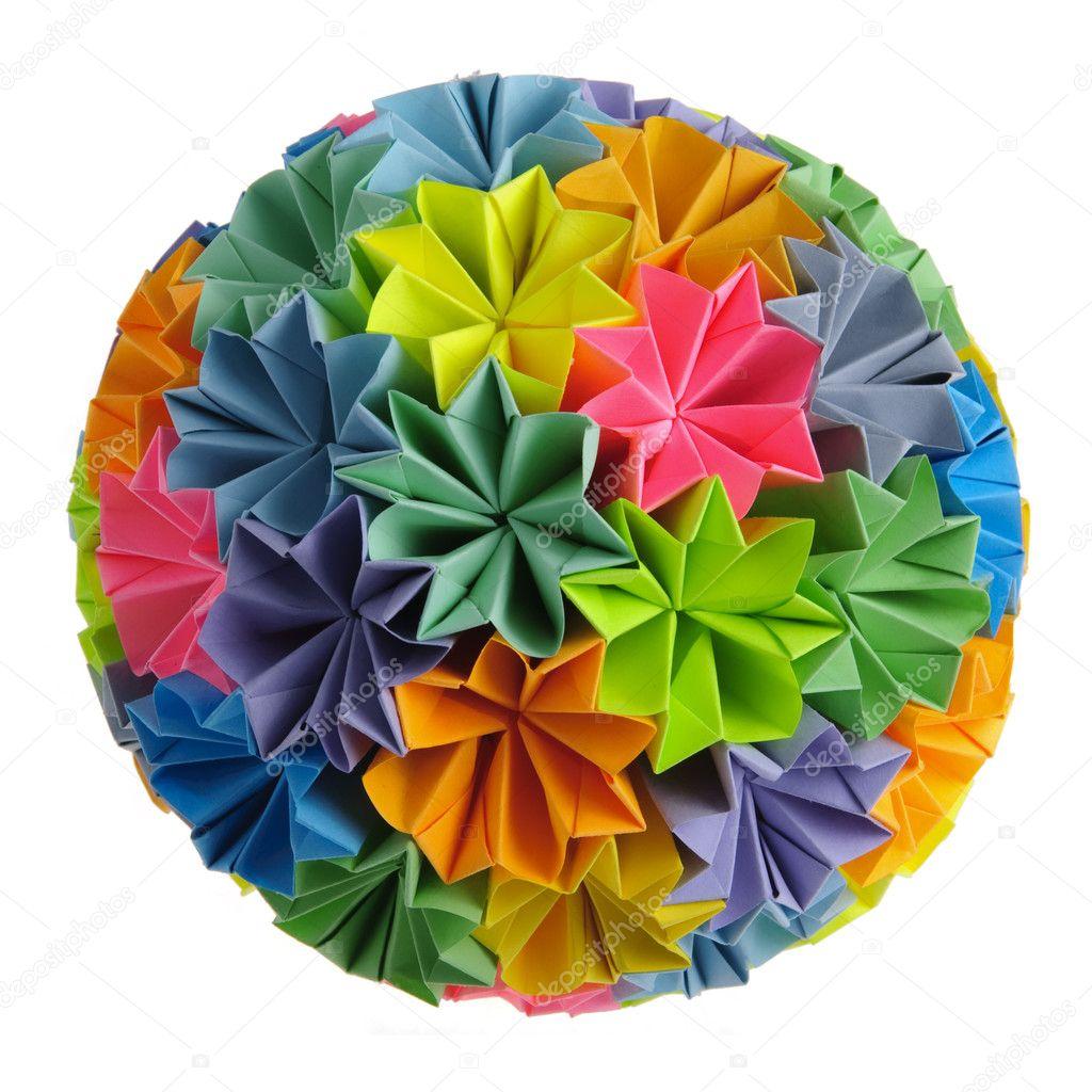 Origami kusudama rainbow stock photo oksixx 2187629 colorfull origami kusudama from rainbow flowers isolated on white photo by oksixx jeuxipadfo Gallery