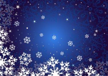 Winter dark blue background